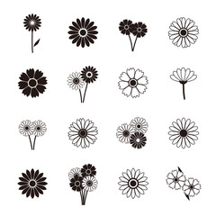 Gerbera icons, vector illustration