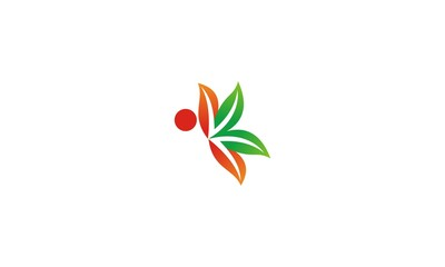green leaf butterfly logo