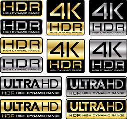 Logos 4K et Ultra HD avec la mention HDR