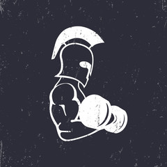strong spartan athlete with dumbbell, exercising spartan warrior silhouette, vector illustration