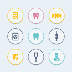 Teeth round color icons, dental care, tooth cavity, toothcare, stomatology icons, vector illustration
