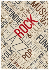 Vector music poster. Rock styles and genres typographic words cloud. Texture effects can be turned off.