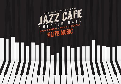 Jazz music, poster background template. Piano keyboard illustration. Website background, festival event flyer design.