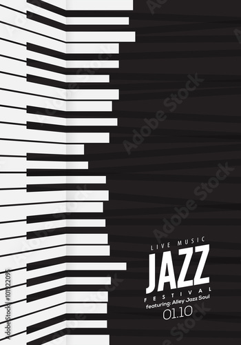 Jazz Music Poster Background Template Piano Keyboard Illustration Website Festival Event