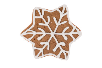 Christmas gingerbread 6-sided star isolated on a white background