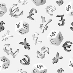 Seamless finance background with currency symbols dollar, euro, pound, yen, yuan. Vector illustration.