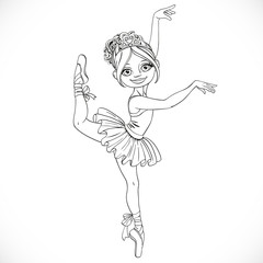 Cute ballerina girl dancing in tutu outlined isolated on a white