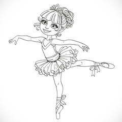 Little ballerina girl dancing in ballet tutu on one leg outlined