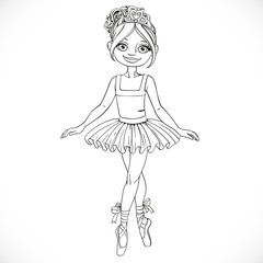 Pretty ballerina girl dancing in ballet tutu outlined isolated o
