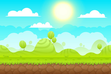 Poster Turquoise Game Background made from seamless endless elements. Vector assets and layers for mobile games