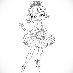 Beautiful little ballerina girl tiara outlined