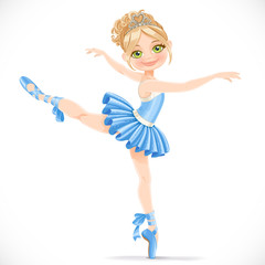 Ballerina girl dancing in blue dress isolated on a white backgro