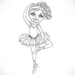 Ballerina girl in tutu and tiara dancing on one leg outlined iso