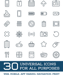 30 Universal Icons Set For All Purposes Web, Mobile, App Making, Navigation, Print