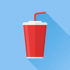 Soda takeaway flat icon. Drink cup.