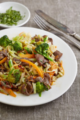 salad with fried beef and vegetables