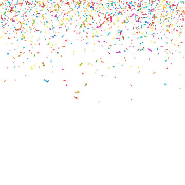 Abstract colorful confetti background. Isolated on white. Vector holiday illustration.