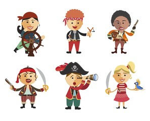 Cute set of children pirates on white background.