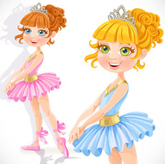 Cute little ballerina girl in tiara isolated on a white backgrou
