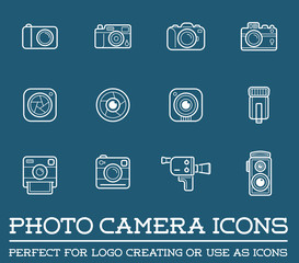 Set of Vector Photo or Camera Elements and Video Camera Signs Illustration can be used as Logo or Icon in premium quality.