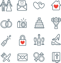 All Kinds of Wedding Marriage or Bridal Icons Set Vector