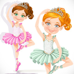 Cute little ballerina girl in pink and green tutu and tiara isol