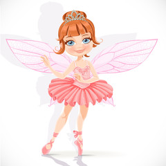 Beautiful little fairy girl in pink dress and tiara isolated on