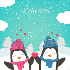 Happy Valentines Day card with cute couple penguin. Vector illustration