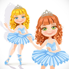 Beautiful little ballerina girl in tiara and blue dress isolated