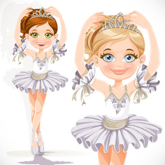 Beautiful little ballerina girl in white dress and tiara isolate