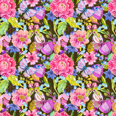Seamless flower pattern with butterfly