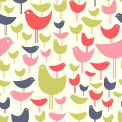 post modern seamless pattern of colorful retro birds