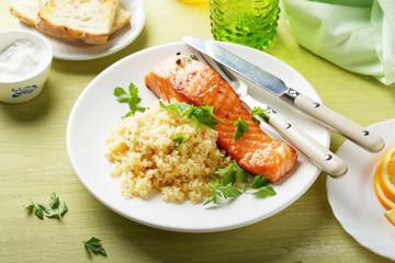 salmon with bulgur