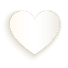 White paper cut heart vector template on white background.