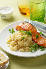 roasted salmon with side dish
