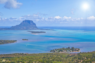 Helicopter flight over the island at Mauritius.