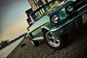 Recess Fitting Vintage cars Shelby Replica of the Mustang 350 in the setting sun