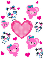 cute animals with heart design