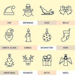 Set of vector icons in the flat style. Christmas and New Year.