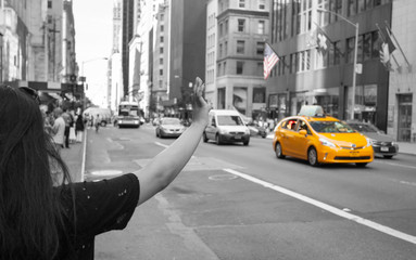 Poster New York TAXI Tourist call a yellow cab in Manhattan with typical gesture