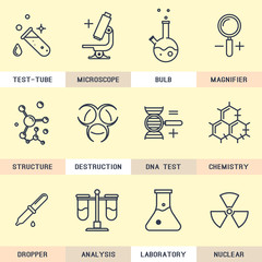 Set of Science vector icons in the flat style.