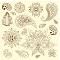 Henna tattoo doodle vector elements on isolated background. Vector illustration. Eps 10.
