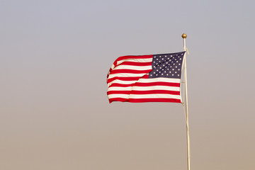 American Flag On Windy Evening