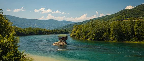 Serene lonely house on the river Drina in Bajina Basta Serbia
