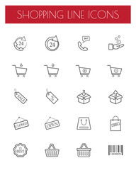 shopping lines icons set. vector . illustration