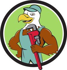 Bald Eagle Plumber Monkey Wrench Circle Cartoon
