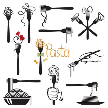 collection of fork and dish with various pasta