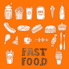 Collection of various sketches food and doodles elements. Hand d