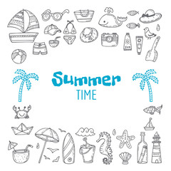 Cute hand drawn summer time collection. Beach theme doodle set.
