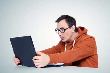 Programmer with laptop
